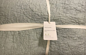 Pottery Barn Belgian Flax Linen Floral Quilt - King / Cal - Mineral Blue - NEW