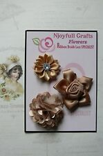 HANDMADE 3 Flower Mix LATTE Lace & Satin 35, 45 & 60mm NjoyfullCrafts
