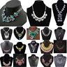 Women's Crystal Chunky Choker Collar Statement Bib Necklace Earrings Jewelry Set