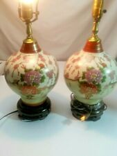 """2 Oriental Table Lamp~Red Floral & pink , green, White ~19?'s~15"""" High"""