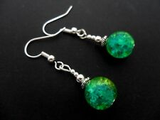 A PAIR  TIBETAN SILVER BLUE/GREEN/YELLOW CRACKLE GLASS BEAD   EARRINGS.
