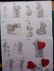 6 x A5  tatty teddy decoupage -all different-6 packs to choose