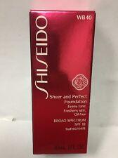 Shiseido Sheer & Perfect Foundation SPF 18 Natural Fair Warm Beige WB 40 NEW