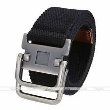 Army Style Pin Buckle Military Men Sports Web Canvas Belt Double Ring Black