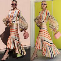 Women's Long Ruffle Irregular Maxi Dress Bell Sleeve Cocktail Sundress 2019 New