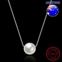 Wholesale 925 Sterling Silver Massive Shell White Pearl Pendant Necklace Gift
