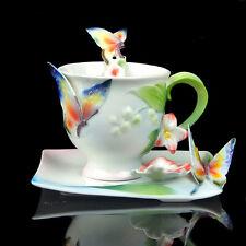 Porcelain Fringed Iris Coffee Set Tea Set Milk Cup Saucer Spoon Daily Used