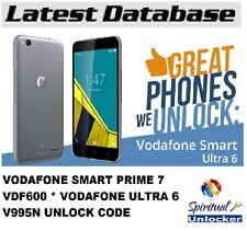 VODAFONE SMART PRIME 7 VDF600 * VODAFONE ULTRA 6 V995N UNLOCK CODE INSTANT