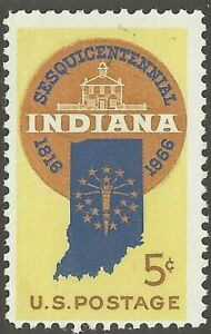U.S. 1308 5¢ Indiana Sesquicentennial Statehood Map with Stars & Old Capital MNH