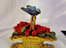 Classic Treasures Porcelain Red Roses In Basket W/Butterfly New in Box!