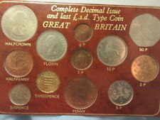 British set of six old style coins and six new decimal coins 12 coins in folder