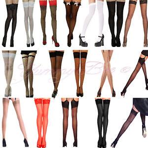 Stockings Suspender Women Hold Up Sheer Fishnet XL Seam Plus Size Fancy Dress UK