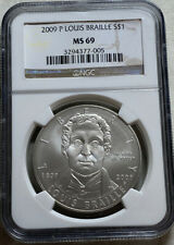 2009 P Louis Braille $1 Commemorative Silver Dollar 90% Silver NGC MS69