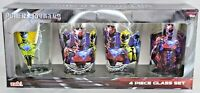 NEW Power Rangers Pint Beer Glasses Set of 4 16oz Glass Tumbler by Zak! Designs
