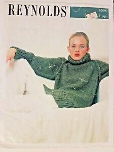 Reynolds 82093 LOPI SWEATER raglan pullover knit pattern 2pg leaflet 2001