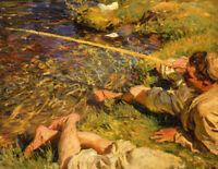 A Man Fishing John Singer Sargent Fine Art Print on Canvas Giclee Repro Small