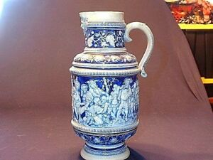 Antique 19ThC Simon Peter Gerz Cobalt Stoneware Jug with Court Scene