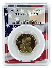2001 S Sacagawea Dollar PCGS PR69 DCAM Flag Frame