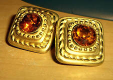 Raafty 14K Gold Roman Revival Imperial Topaz Earrings