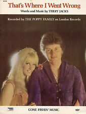 Poppy Family sheet music That's Where I Went Wrong 1970 4 pages (VG+ shape)