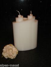 """Kerzenk.- 2-Docht Kerze"""" Doppelspirale """"Rohling in weiß-schwere Qualität"""