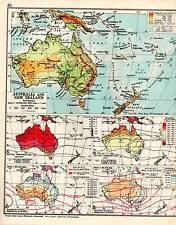 MAP ~ AUSTRALIA & NEW ZEALAND ~ PHYSICAL ~ RAINFALL PRESSURE WINDS ETC