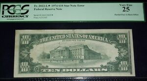 (FR.2022-L*) 1974 $10 STAR NOTE ERROR (Partial Face to Back Offset) PCGS-VF25