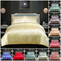 Luxury Satin Jacquard Duvet Set 4 Piece Bedding Set Double King Size Duvet Cover
