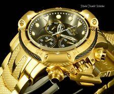 NEW 50MM Invicta Subaqua POSEIDON BOLT ALL Gold Tone Black Dial Bracelet Watch