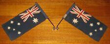 2 x Vintage Australian Car Flags + Chromed Pole Mounts - 40s/50s - Evans - Rare
