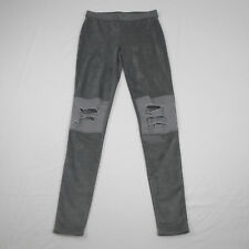 Astars Womens Denim Gray Skylar Pants Suede Destroyed Leggings Size XS