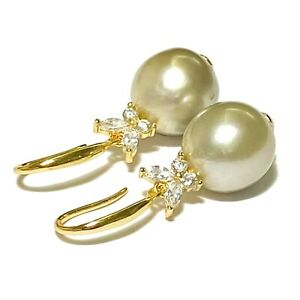 Oval 11.1 x 11.5mm Natural Smoke Olive Green Indonesia South Sea Pearl Earrings