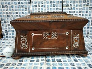Fine 19c Sewing Jewellery Box w Mother Pearl & Silver Metal Inlays Beaded Edging