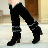 NEW Women's Boots Buckle Knee High Winter Casual Fashion High heel Boots Shoes
