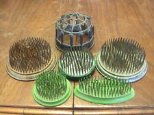 Vintage Lot of 6 Flower Frogs Round Oval Wire Spike Metal