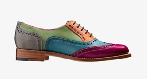 Handmade Women's Genuine Leather Six Tone Multi Colour Oxford Brogue Shoes