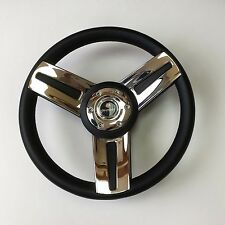 New OEM Gussi Boat Steering Wheel M14 Black Urethane Rim Stainless Steel Spoke