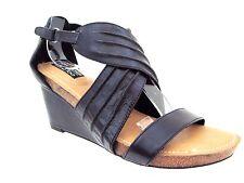 ADAM TUCKER Me Too Black Leather KAMILA Wedge  Strap Size 7 1/2 M