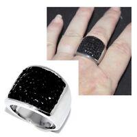 Grosse bague  en acier inoxydable et cristal noir T 62 bijou ring