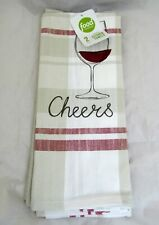 Set of 2 Food Network Wine Glass Cheer Kitchen Towel Home Decor Cotton Woven