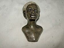 Vintage Carved Brown Marble Soapstone Figural Bust African Tribal Young Man