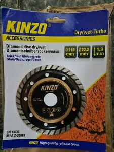 Kinzo Diamond Disk Dry/wet 115mm 22.2mm 1.9mm brick/roof tile/concrete joblot 12