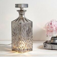 Square Decanter Style Smoked Grey Glass Single Light Table Lamp - Bulb Included
