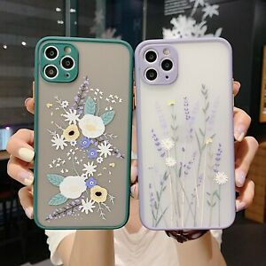 Case For iPhone 12 Pro Max 11 Xr X 7 Plus Flower Clear ShockProof SILICONE Cover