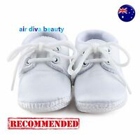 Baby Shower Boy Kid Infant White Christening Wedding Party Satin first Shoes