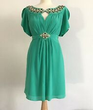 ALICE by TEMPERLEY Emerald Green Silk Alma Dress with Jewel Embellishment UK 12