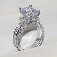 925 Silver Princess Cut White Sapphire CZ Wedding Ring Luxury Jewelry Size 5-12