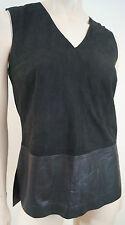 VINCE Black Suede V Neck & Leather Hemline Sleeveless Tank Vest Top Sz4 UK8 BNWT