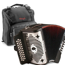 Hohner Panther GCF Sol 31 Button Diatonic Accordion with Stagg Padded Gig Bag