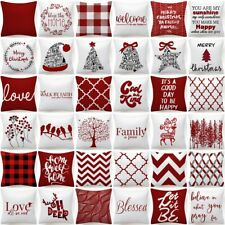 """PILLOW COVER Christmas Decorative Red White Bed 2-Sided Xmas Cushion Case 18x18"""""""